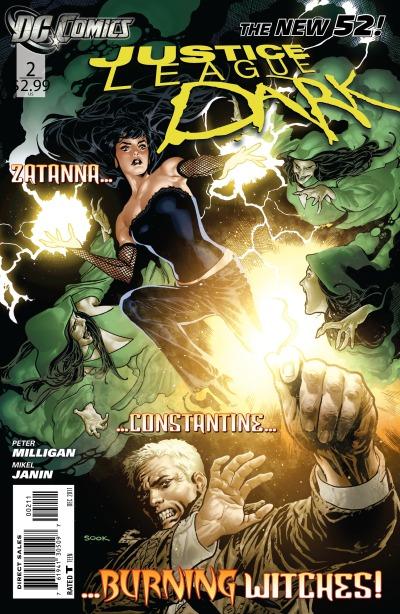 Portada del número 2. Y si, no pasa nada más. Zatanna y Constantine quemando brujas.