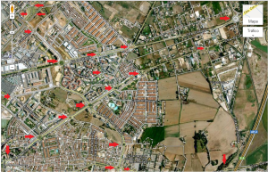 Todas las flechas rojas señalan rotondas.